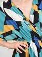 People By Fabrika Sırtı Bağlamalı Desenli Elbise Petrol
